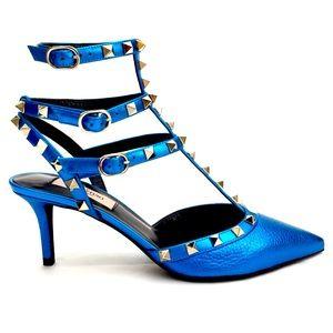 VALENTINO GARAVANI Rockstud Metallic Blue Pumps 38